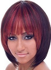 Mysterious Short Straight Red Full Bang African American Wigs for Women 12 Inch