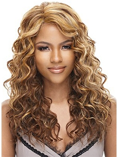 Unique Medium Wavy Blonde Side Bang African American Lace Wigs for Women 18 Inch