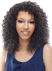 Prevailing Medium Curly Brown No Bang African American Lace Wigs for Women 16 Inch