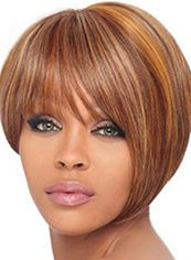 Dainty Short Straight Blonde Full Bang African American Wigs for