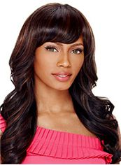 Fashionable Long Wavy Sepia Side Bang African American Wigs for Women