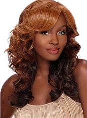 2015 Fashion Trend Medium Wavy Brown Side Bang African American Wigs