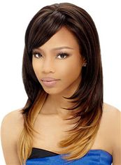 Top Quality Medium Wavy Brown Side Bang African American Wigs for