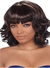 Popurlar Medium Wavy Sepia Full Bang African American Wigs for Women