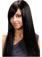 Brazil Long Straight Black Side Bang African American Wigs for Women 22 Inch