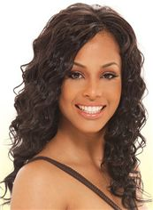 Natural Medium Wavy Brown No Bang African American Lace Wigs for Women 18 Inch