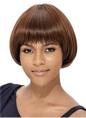 Graceful Short Wavy Brown Full Bang African American Wigs for Women 8 Inch