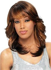 Cheap Medium Wavy Brown Full Bang African American Wigs for Women 16