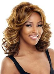 Pretty Medium Wavy Blonde No Bang African American Lace Wigs for Women 14 Inch