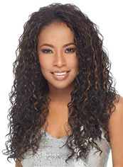 Faddish Long Curly Sepia No Bang African American Lace Wigs for Women