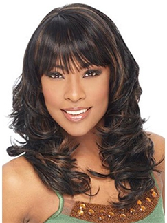 Concise Medium Wavy Brown Full Bang African American Wigs for Women
