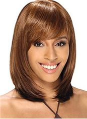 Modern Medium Straight Blonde Full Bang African American Wigs for Women 14 Inch
