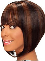Amazing Short Wavy Brown Full Bang African American Wigs for Women 12