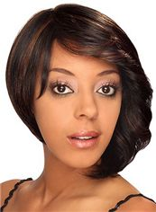 Chic Short Wavy Brown Side Bang African American Lace Wigs for Women 12 Inch