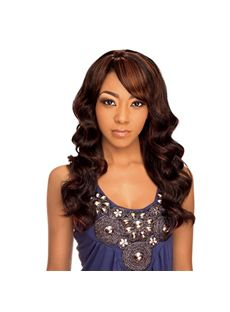 Wholesale Long Wavy Brown Side Bang African American Wigs for Women 20 Inch