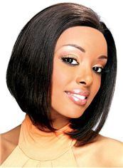 Newest Short Wavy Black No Bang African American Lace Wigs for Women
