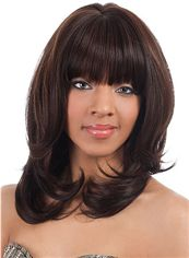 Discount Medium Wavy Brown Full Bang African American Wigs for Women 14 Inch