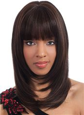 Wigs For Sale Medium Wavy Brown Full Bang African American Wigs for Women 16 Inch