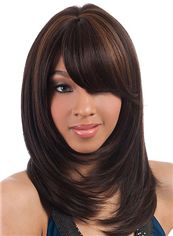 Wig Online Medium Wavy Brown Side Bang African American Wigs for Women 16 Inch