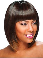 Sale Wigs Short Straight Brown Full Bang African American Wigs for