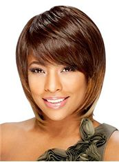 Vogue Wig Short Straight Brown Full Bang African American Wigs for Women 10 Inch