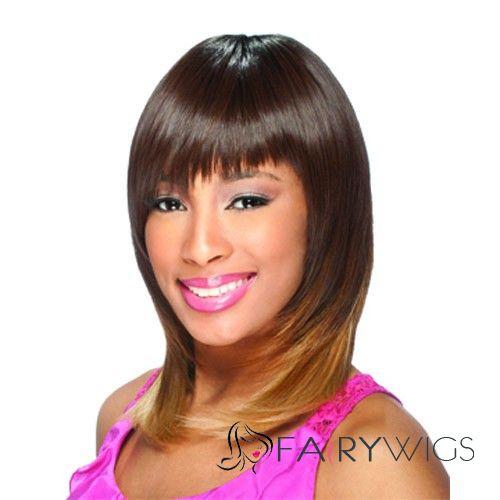 Online Wigs Medium Wavy Brown Full Bang African American Wigs for Women 14 Inch