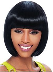 Quality Wigs Short Straight Black Full Bang African American Wigs for