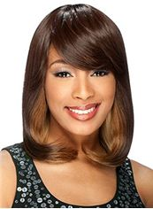 Capless Medium Wavy Brown Side Bang African American Wigs for Women