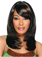 New Fashion Medium Wavy Black Side Bang African American Wigs for