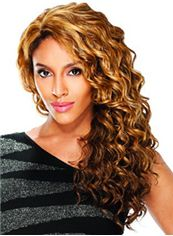 Beautiful Long Wavy Blonde No Bang African American Lace Wigs for Women 20 Inch