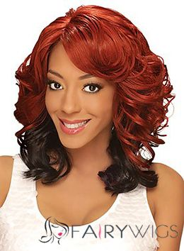 Perfect Medium Wavy Red Side Bang African American Lace Wigs for Women 16 Inch