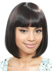 Stylish Short Straight Black Full Bang African American Wigs for