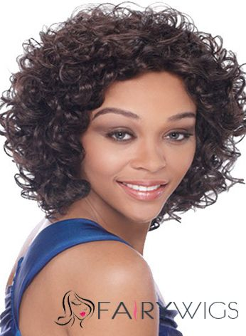 Dynamic Feeling from Short Curly Sepia African American Lace Wigs for Women 12 Inch
