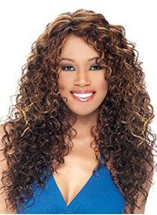 2013 Cool Long Curly Brown No Bang African American Lace Wigs for