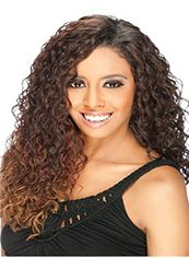 Marvelous Long Curly Brown No Bang African American Lace Wigs for Women 20 Inch