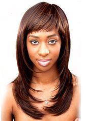 Personalized Medium Wavy Brown Full Bang African American Wigs for