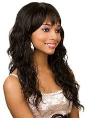 Lovely Long Wavy Black Side Bang African American Wigs for Women 22