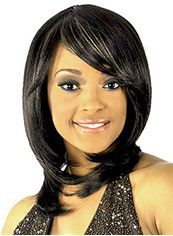 Elegant Medium Wavy Black Side Bang African American Wigs for Women