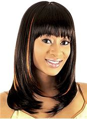 Fabulous Medium Wavy Brown Full Bang African American Wigs for Women