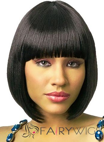 Simple Short Straight Black Full Bang African American Wigs for Women 12 Inch