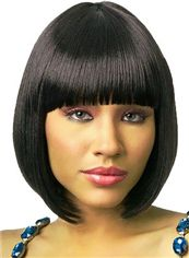Short Straight Black Full Bang African American Wigs for Women 12 Inch