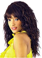 Sketchy Long Wavy Black Full Bang African American Wigs for Women 20 Inch