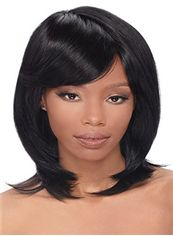 Cute Short Wavy Black Side Bang African American Wigs for Women 12