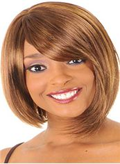 Fashion Short Wavy Brown Side Bang African American Wigs for Women 12