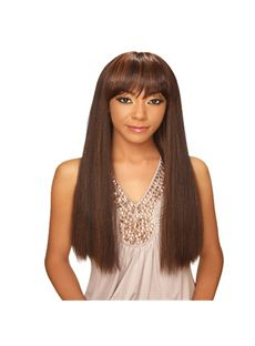 Hot Long Straight Brown Full Bang African American Wigs for Women 24