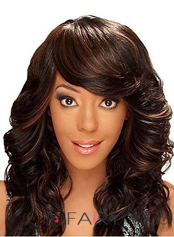 Up-to-date Medium Wavy Brown Side Bang African American Wigs for Women 18 Inch