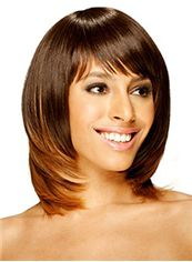 Dainty Medium Wavy Brown Side Bang African American Wigs for Women 14 Inch