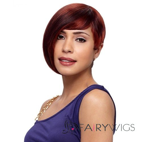 Custom Short Straight Red Side Bang African American Lace Wigs for Women 10 Inch