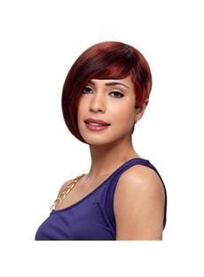 Custom Short Straight Red Side Bang African American Lace Wigs for