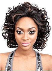 Soft Medium Wavy Brown No Bang African American Lace Wigs for Women